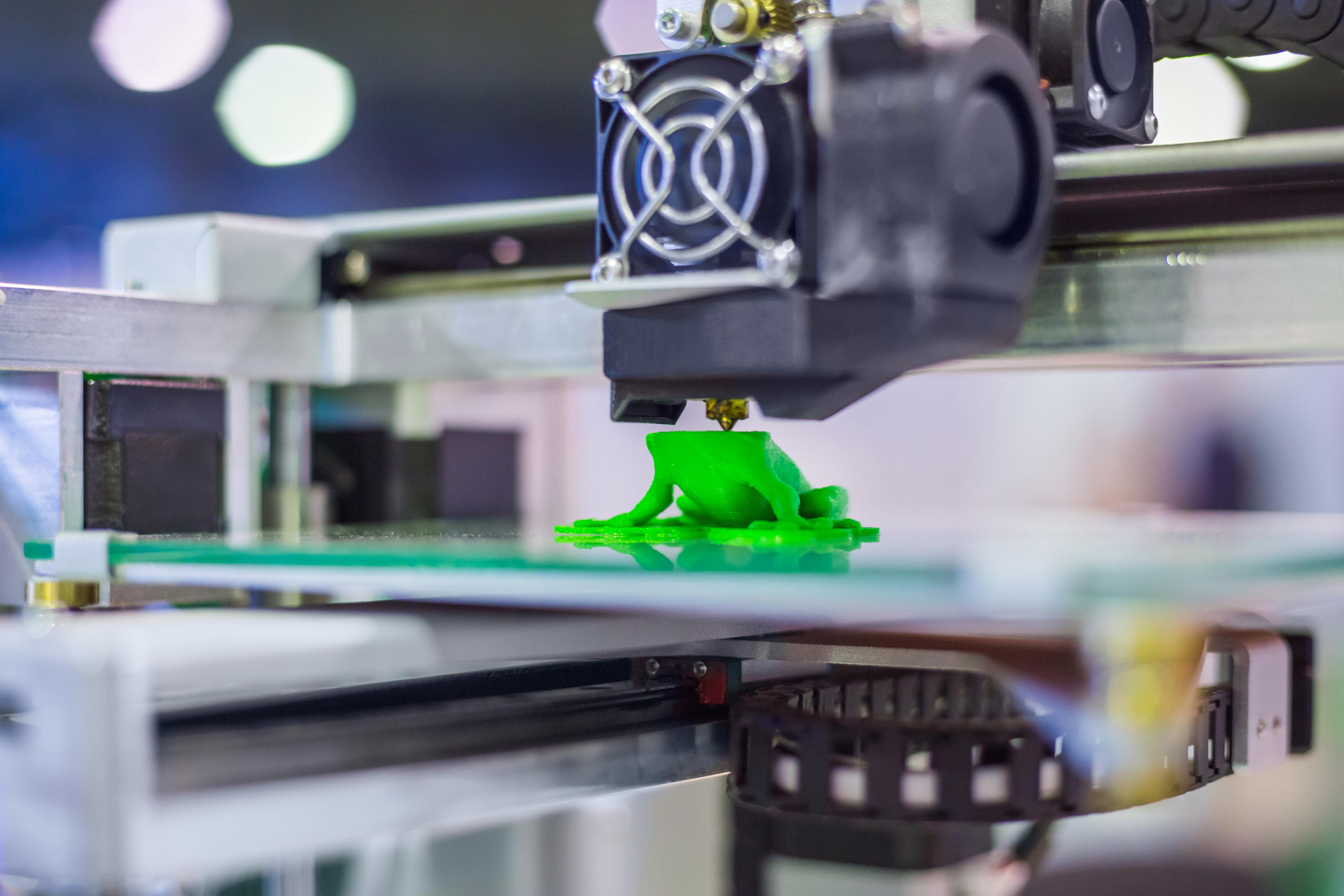 A 3D printer printing a plastic frog