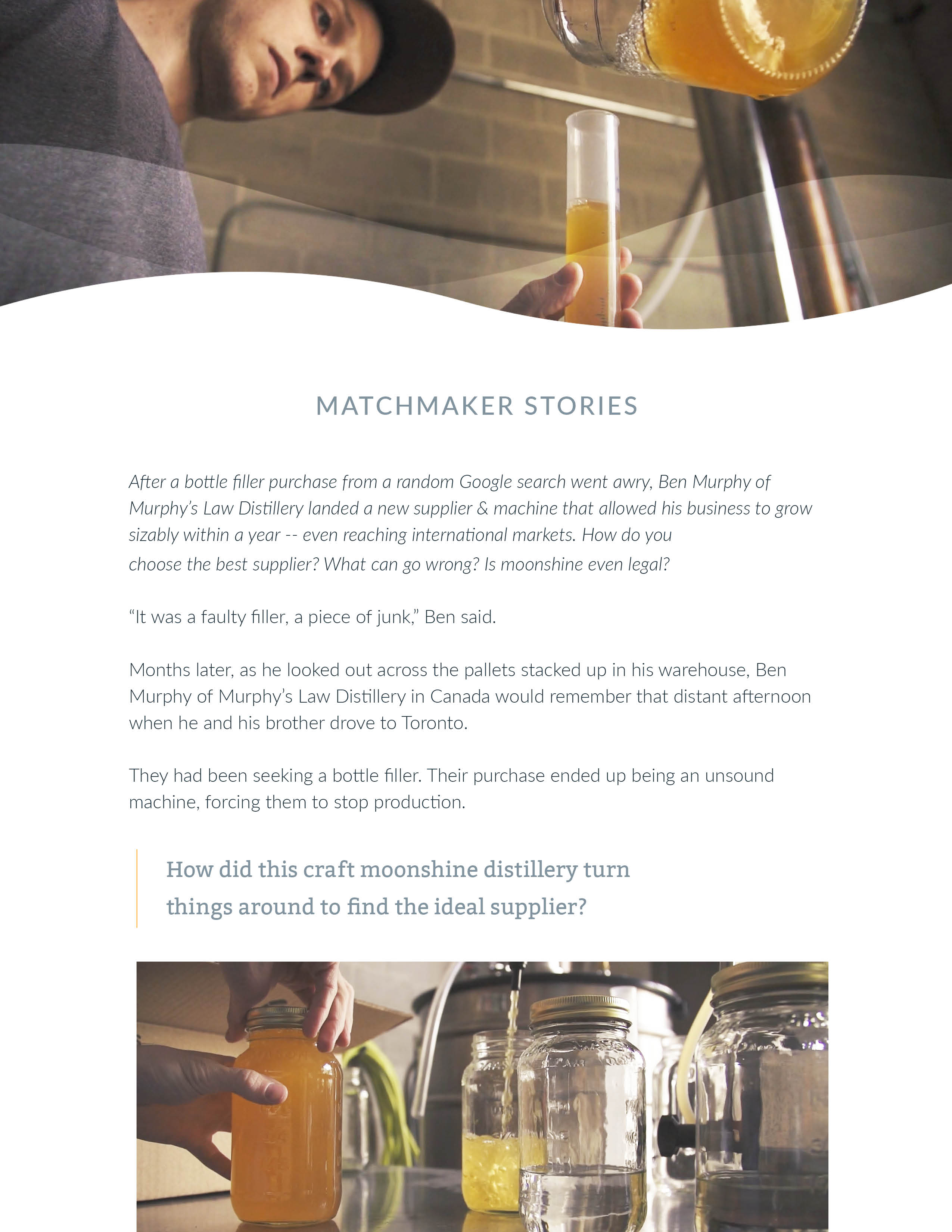 Ben Murphy of Murphy's Law Distillery seeking bottle filler